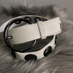 Miu Miu white leather grommet belt 34.